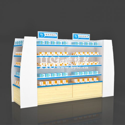 药店货架_亚克力侧板板带地柜